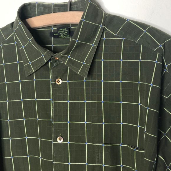 Nordstrom Other - Men's olive green windowpane casual button down XL